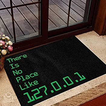Fafahome Programmer Doormat There is No Place Like 127.0.0.1 Printed Rubber Backing-Non Slip Washable Thin Door Mat 16 x 24 inchs