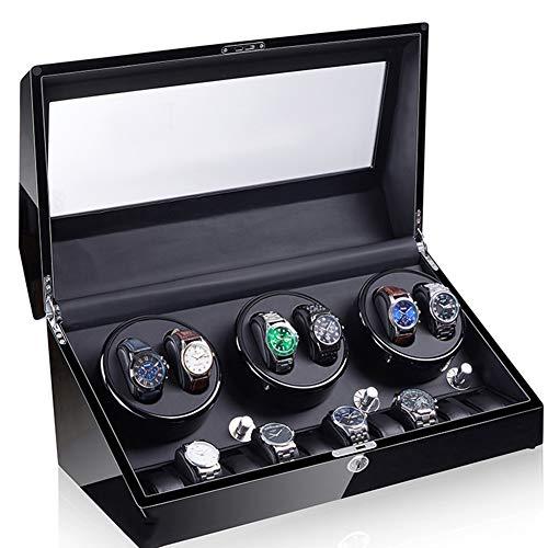 Zatnec Caja Relojes Automaticos Silenciosos,Cajas Giratorias para Relojes (para 6+10 Relojes) Watch Winder Caja Guardar Relojes Mecánicos Hombre (Color : D)