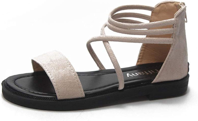 2019 summer new word strap women's sandals back zipper student beach women's shoes
