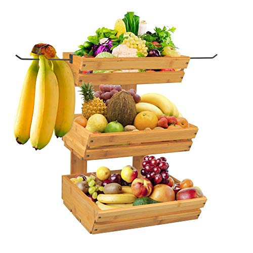 3 Tier Standing Bamboo Basket With Banana Hangers, for Fruits, vegetables, Snacks, or Bread - For Table, Kitchen, or Counters Tops.
