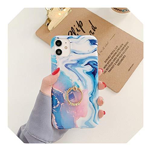 Caja de teléfono de mármol azul titular del anillo para iPhone 12 11 Pro Max XR X XS Max SE 2020 7 8 Plus funda de silicona suave moda soporte cubierta-E con soporte para iPhone SE 2020