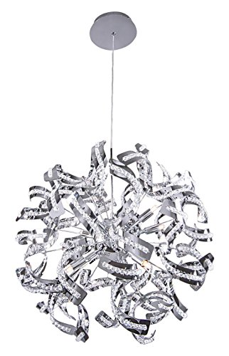 """Ribbon 12 Light 24"""" Chrome Pendant Chandelier with Clear Crystal Accents"""