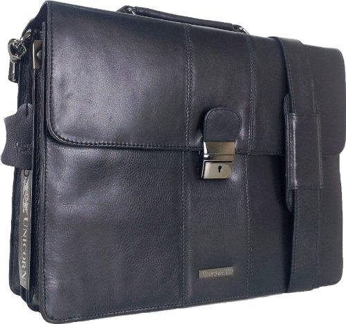 UNICORN Vera Pelle Lavoro Esecutivo Borsa Ventiquattrore Nero Keylock Messenger Bag #2N