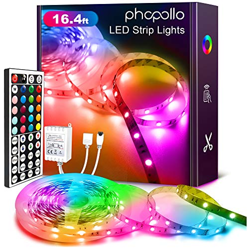 Phopollo Led Strip Lights Color Changing 16.4ft Flexible 5050 RGB Led Lights Kit with Power Supply and 44 Keys Remote