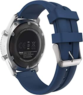 MoKo Band Compatible with Samsung Galaxy Watch 46mm/Galaxy Gear S3 Classic/Frontier/Ticwatch pro/E2/S2/Huawei Watch GT 46mm, Silicone Strap Fit 22mm Strap - Midnight Blue