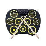 E-Drum Set Digital Roll-Up Drum Kit 9 Silicon Durm Pad Altavoces estéreo integrados con 2 pedales, para niños principiantes SKYJIE