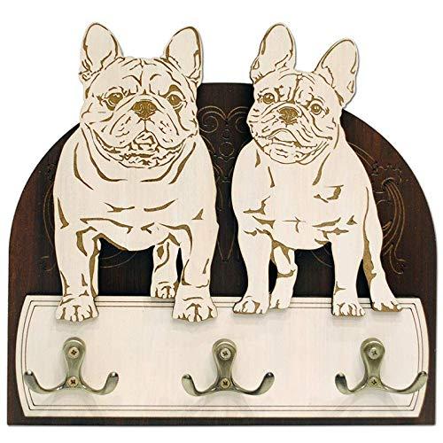 French bulldogs Hanger/holder leashes, rack key of wood, handmade