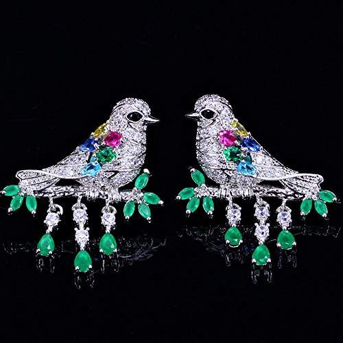nobrand Pendientes para mujer, con diseño de animales, elegantes circonitas multicolor, plata de ley 925