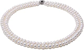 JYX Pearl Double Strand Pearl Necklace Classic 7mm Flatly Round White Freshwater Cultured Pearl Necklace for Women