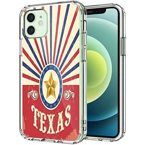 """Texas Coque transparente compatible avec iPhone 12 6,1"""" 2020, style cowboy vintage western avec effet grunge, pour homme et femme, bleu marine, rouge et crème"""