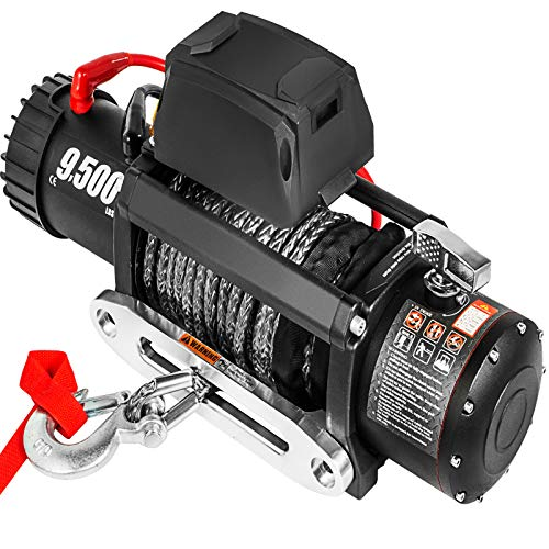 VEVOR Electric Winch 9500lb Load Capacity Truck Winch Compatible with Jeep Truck SUV 85ft/26m Synthetic Rope 12V Power Winch with Wireless Remote Control, Powerful Motor for ATV UTV Off Road Trailer