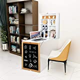 VINGLI 3-in-1 Wall-Mounted Floating Table Desk with Chalkboard, Foldable Space-Saving Convertible Computer Desk Laptop Workstation Home Office Writing Desk Vanity Table (White)