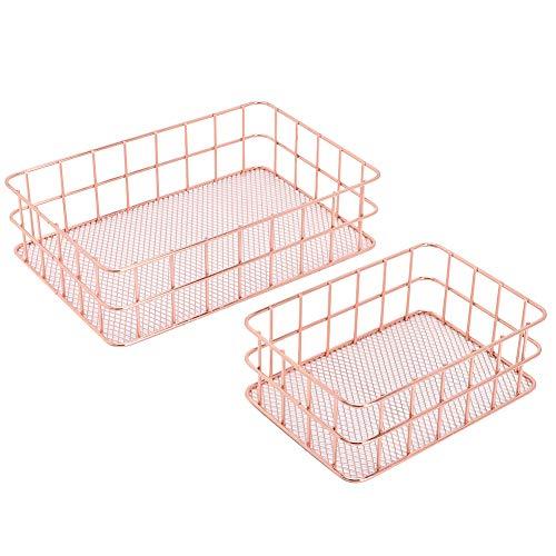 Cosmetics Storage 2pcs/set Iron Fruit Holder Plate Container Basket Organizer
