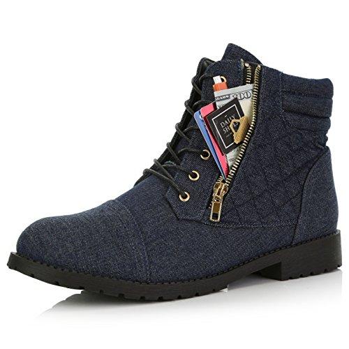 DailyShoes Women's Ankle Boots Combat Boot Low Heel Lace Up Zip Pocket Exclusive Credit Card Bootie Susan-01 Blue Denim 12