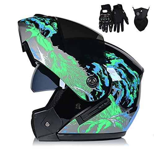 HVW Casco de Motocicleta, Aprobado por Dot/ECE Casco de Motocicleta abatible Crash Casco Integral Modular con máscara de Guantes Visera Solar Doble Casco de Motocross Frontal abatible,E,S55to56cm
