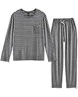 80 Manufacturing Men's Pajama Set Long Sleeve Sleepwear Striped Grey Cotton Casual Loungewear,S