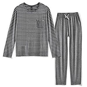 80 Manufacturing Men's Pajama Set Long Sleeve Sleepwear Striped Grey Cotton Casual Loungewear