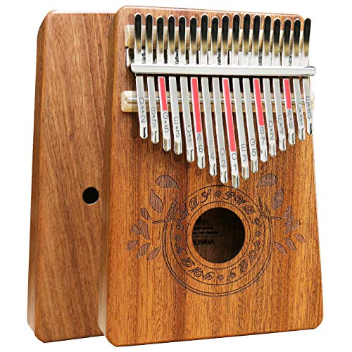 Kalimba 17 Keys Thumb Piano with Study Instruction and Tune Hammer, Portable Solid African Wood Finger Piano, Gift for Kids Adult Beginners