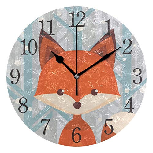senya Wall Clock Brown Fox Silent Non Ticking Operated Round Easy to Read Home Office School Clock