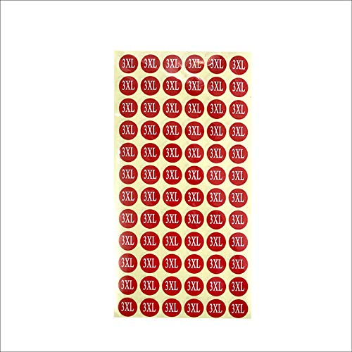 サイズシール 3XL サイズ 業務用 大きさ=直径1.4cm 赤地に白文字 1シートに72枚のシールが15シート(1080枚分)入り 仕分け 梱包 ラベル 服 表示 アパレル サイズ表示 size フリマ ラクマ イベント アパレル 店舗出店 在庫管理 デ