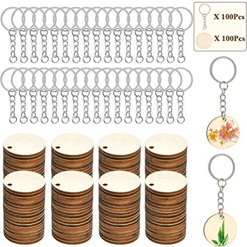 FOCCTS 100 Stück Holzscheiben Handwerk Holzplättchen mit Loch Baumscheiben für DIY Basteln Malen DIY Handwerk Dekoration, Holzspan mit Schlüsselanhänger Kombination Set