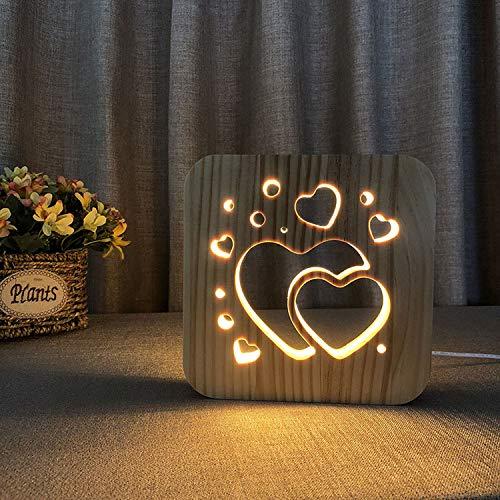 Nachttischlampe aus Holz, 3D-Herzform, Augenschonende Tischlampen, USB-LED, Schreibtisch-Leselampe für Valentinstag, Geschenk