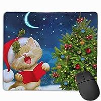 クリスマスキャット マウスパッド 25×30 大判 ノンスリップ 防水 ゲーミング おしゃれ マウスの精密度を上がる