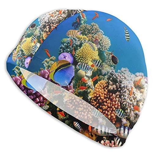 Gorro de natación Peces Tropicales Coral Rock Reef Bajo el Agua Gorro de baño Transpirable Gorro de natación de poliéster Gorro de natación elástico para Unisex