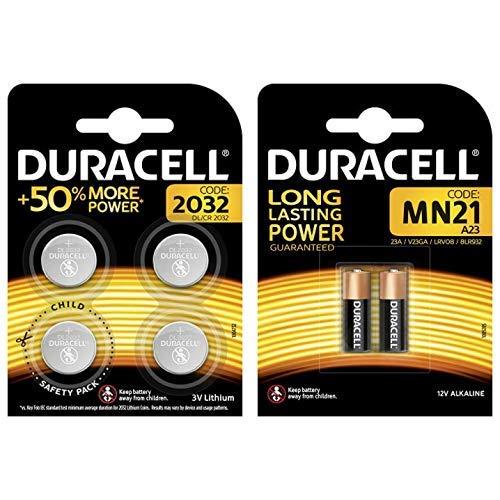 Duracell Specialty 2032 Lithium-Knopfzelle 3V, 4er-Packung CR2032 /DL2032 entwickelt & Duracell Specialty Alkaline MN21 Batterie 12V, 2er-Packung (A23 / 23A / V23GA / LRV08 / 8LR932)
