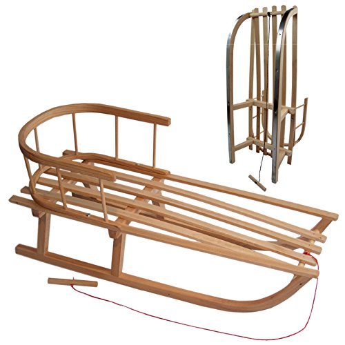 WIN Holzschlitten mit Rückenlehne Lehne Schlitten aus Holz Kinderschlitten NEU