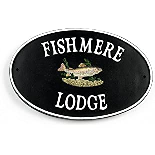 Customer reviews Hand Painted Cast Iron Oval Rustic Traditional House Name Sign - Rainbow Trout:Comoparardefumar
