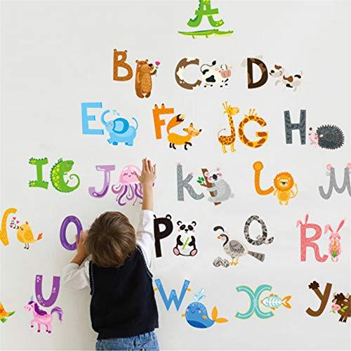 Zyzdsd 26 Buchstaben Az Alphabet & Tiere Wand Wandaufkleber Dekoration Englisch Vinyl Wandbild Sticker Aufkleber Kinderzimmer Für Kinderzimmer Dekor