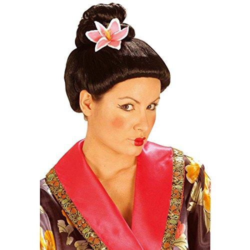 NET TOYS Perruque Geisha Chine avec Fleur Perruque Femme Japonaise Perruque de Chine Perruque de Geisha Femme Asiatique Asie Carnaval Perruque avec Faux Cheveux