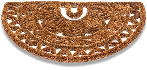 Matches21 Felpudo Felpudo Kokos de fibra de coco, rejilla de alambre, semicircular, aspecto étnico, exterior, 1 unidad, 45 x 75 x 3 cm