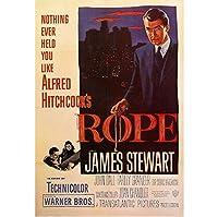 ロープアルフレッドヒッチコックジェームズスチュワートヴィンテージ映画ポスタープリント絵画家の壁の装飾-60x80cmフレームなし