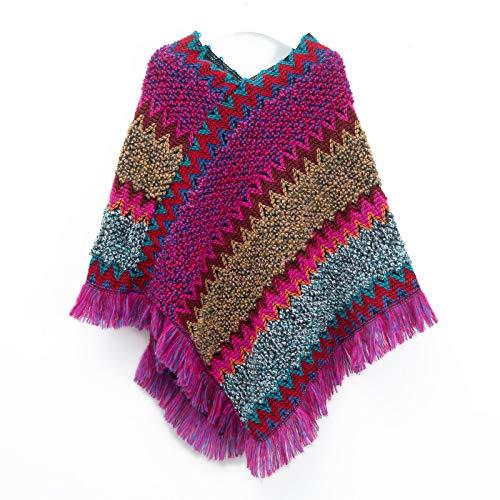 Memefood Bufanda retro para mujer, suave y cálido, bufanda bohemia con borlas