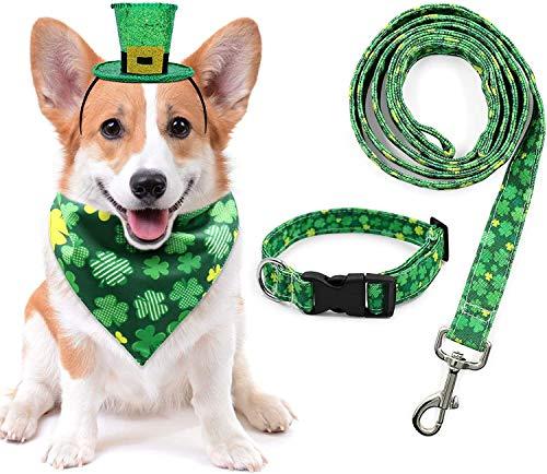 St. Patrick's Day Dog Collar Bandana Leash Hat Set, Saint Patty's Day Outfit for Medium Puppy Irish Spring Festival Parade Dressing Green Shamrock Pet Dog Gifts, Set of 4