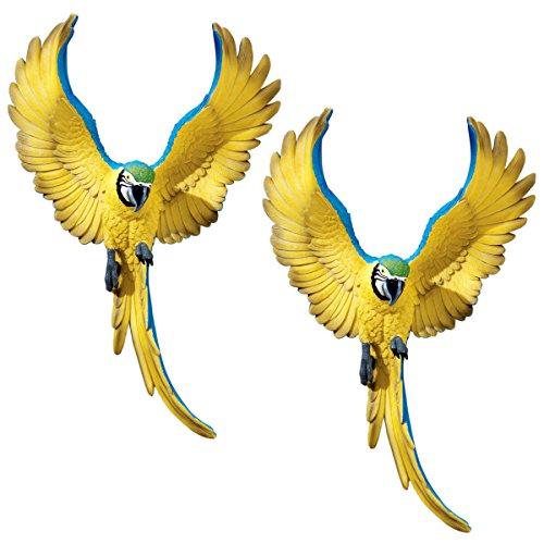 Design Toscano by Blagdon QL129918 - Figura Decorativa (Resina), diseño de Loro de Macaw, Color Amarillo y Azul