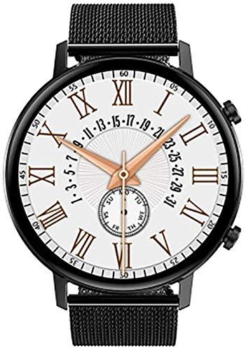 Smartwatch, modische Smartwatch, multifunktionale Uhr, Handy-Schnittstelle, Schalter, Armbanduhr, Gesundheitsüberwachung, Push-News – schwarzer Stahlgurt