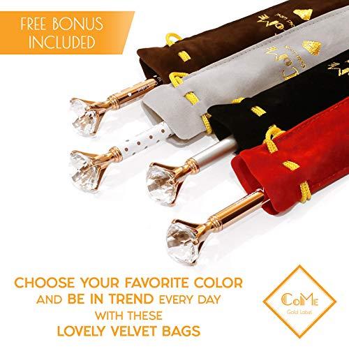 4 PCS Color Diamond Pens Rose Gold - 4 Velvet Bags, 8 Ink Refills Black & Blue, Gift Pen Set for Writing - Fancy Pens for Girls, Crystal Jewel Cute Pens for Women, Girly Ballpoint Pen with Diamond Top Photo #9