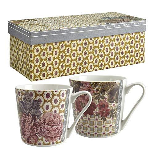 MATHILDE M. Madame de Montespan - Juego de 2 tazas de porcelana