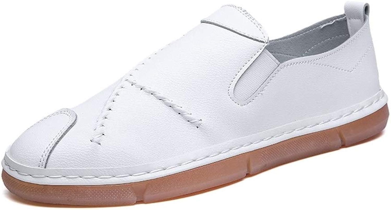 MUWU Solida Oxfordskor för män Formala skor glider på stil stil stil PU läder Round Toe Casual Low Top ljusljus (Färg  vit, Storlek  7.5 M US)  100% fri frakt