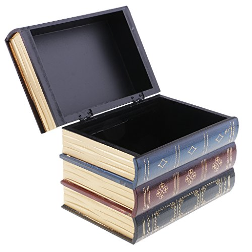 Baoblaze Aufbewahrungsbox Buch Typ Schmuckkasten Schmuckkästchen Damen Mädchen Holz Schmuckschatullen - L