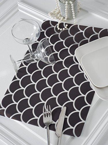 CALITEX Set de 6 Tables Rond, PVC, Noir, 44x28 cm