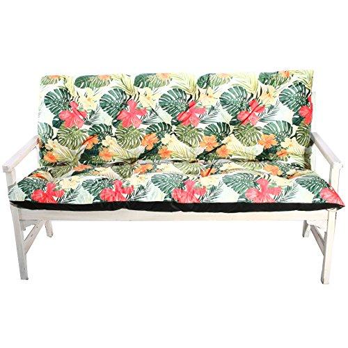 4L Textil Banco de Jardín–Cojín para Banco (Asiento Cojín Cojines Acolchados Asiento Acolchado Tropical Print