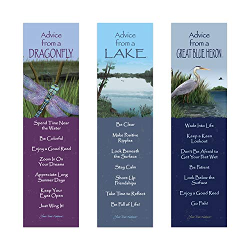 Advice from Nature 3 Bookmark Zen Set - Great Blue Heron, Lake, Dragonfly by Your True Nature AMBM-Zen.