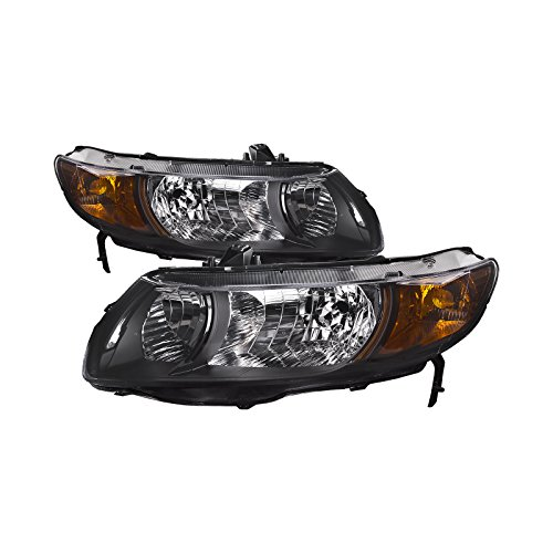 HEADLIGHTSDEPOT Black Housing Halogen Headlights Compatible With Honda Civic 2006-2009 2 Door Coupe Includes Left Driver and Right Passenger Side Headlamps