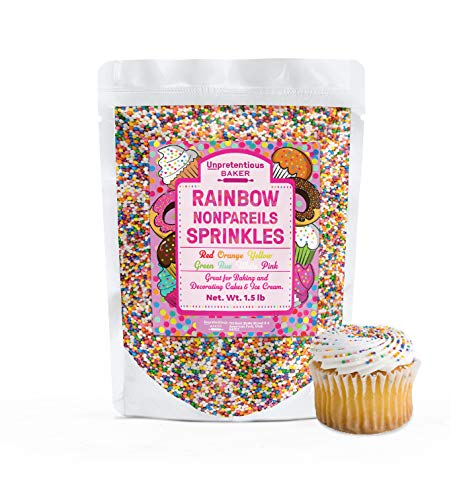 Rainbow Nonpareils Sprinkles, 1.5 lb by Unpretentious Baker, Round Sprinkles, Gluten Free, Made in America, Clear Resealable Bag