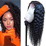 Deep Wave Closure Wigs Human Hair Brazilian Virgin Deep Wave 4x4 Lace Closure Human Hair Wigs for Fashion Women Natural Color (18Inch)