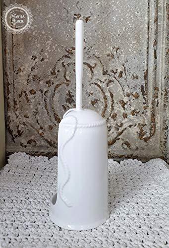 Flair Vitrine WC Garnitur Bürstengarnitur -Schleife- Keramik weiß Bad Landhaus Shabby French